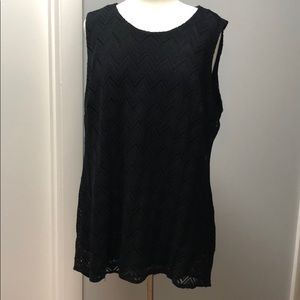 Vince Camuto Black Tunic Top with woven details